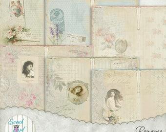 "Printable Journal Kit, DIY Junk Journal Kit, Journal Pages 5"" X 7"", Shabby Chic, Journal Cards, Ephemera, Paper Craft Supplies - 'Romance'"