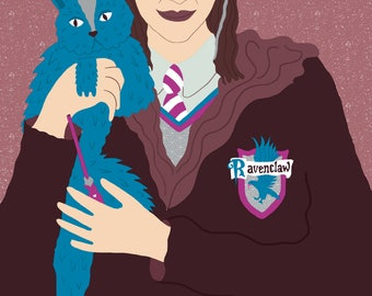 Harry potter portrait, custom harry potter portrait, Ravenclaw, custom portrait
