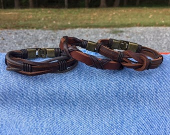 Men's Leather Bracelet Gift For Men Gift For Boyfriend Gifts Under 20 Bracelet Leather Men With Secure Metal Clasp 3P-7