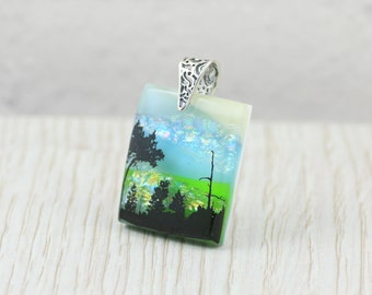 Fused Glass  Pendant-Dichroic Glass Pendant-Landscape-Trees on Skyline-Fused Glass Jewellery-Dichroic Jewelry-Fused Glass Jewelry JBT425