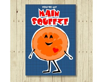 You're My Main Squeeze Magnet, Funny Refrigerator, Gift for Girlfriend, Cute Gift Under 10, Gift for Boyfriend, Orange, Fruit