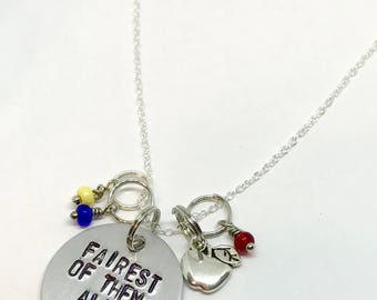"""Snow White Inspired Hand-Stamped Necklace - """"Fairest of them all"""""""