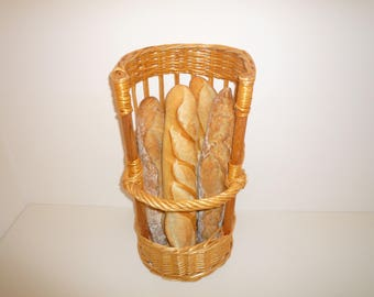 Vintage french bakery woven wicker Bread basket. French Baguette Kitchen or shop display