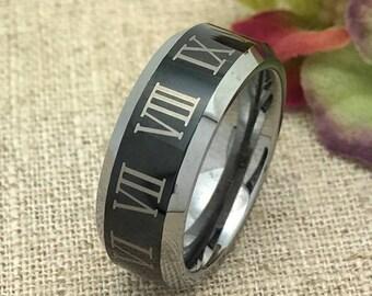 SIZE #7.5 Tungsten Wedding Ring, Laser Engrave Roman Numeral Tungsten Ring, Free Engraving