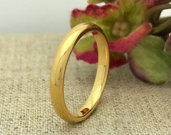 3mm Tungsten Wedding Ring, Personalized Engraved Yellow Gold IP Plated Tungsten Ring, Unisex Ring, Promise Ring, Skinny Ring