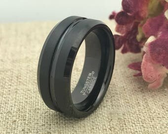 8mm Personalized Tungsten Ring, Custom Promise Ring for Him, Purity Ring, Coordinates Ring, Groomsmen Ring, Date Ring, Couple Initials Ring