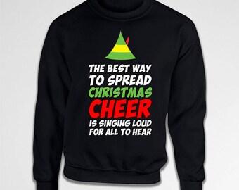 Buddy The Elf Hoodie Christmas Jumper Holiday Sweater Xmas Clothing Christmas Humor Holiday Present Xmas Gift Ideas Merry X-Mas Tiki-29