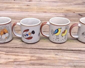 1970s Set of 4 Stoneware Mugs