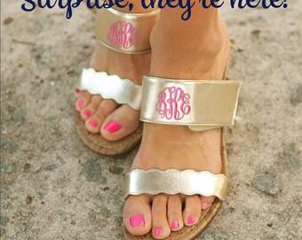 Gold Wedge Sandals, Monogrammed Sandals, Gold Monogrammed Sandals
