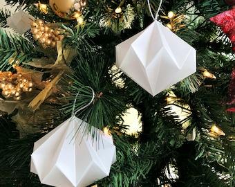 6-Pack/Dozen Large Geometric Paper Ornament, White Vellum Paper with Silver Cording