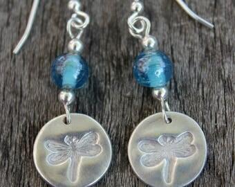 Dragonfly dangle earrings, blue dangle earrings, silver eco jewellery, eco friendly jewellery, blue glass drop earrings, summer earrings