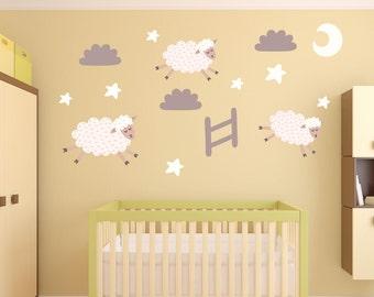 Fabric Wall Decals,Lamb, Sheep, Moon, Stars Wall Decals Nursery, Baby