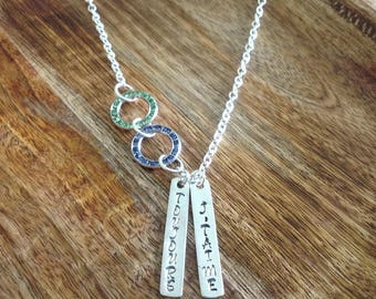 """Handcrafted Sentiment & Crystal Necklace """" I Love You Always"""", Crystal Necklace, Silver Jewellery, Crystal Jewellery, Blue Green Necklace"""