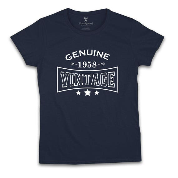 60th birthday gift for a woman born in 1958 Genuine vintage. Available in Lady and slim fit styles, medium large xl 2xl