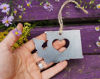 Washington State Christmas Ornament Rustic Raw steel WA Metal Christmas Decoration Heart Gift ChristmasTree Stocking Stuffer By BE Creations