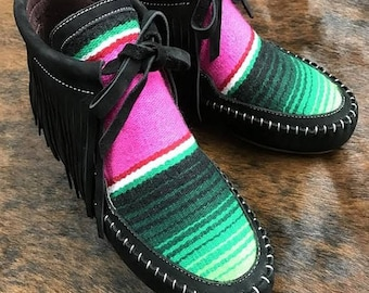 Serape Moccasin Boots with Fringe
