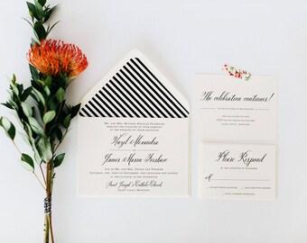 hazel wedding invitation sample  //  printed invite / traditional classic black white calligraphy romantic custom modern invite