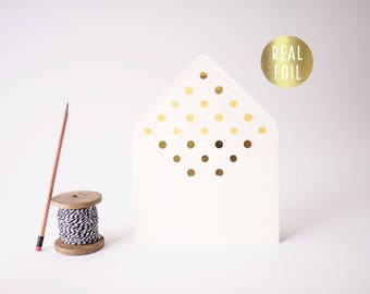 large gold foil polka dot lined envelopes / envelope liner / envelopes for wedding invitations / wedding envelopes / silver foil / rose gold