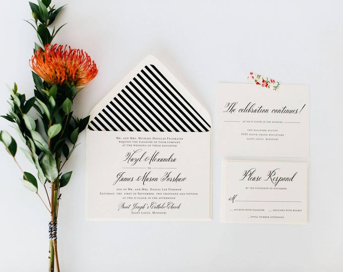 hazel wedding invitation  //  printable option / traditional classic black white calligraphy romantic custom modern invite