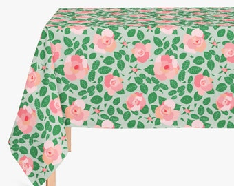 Floral Roses Table Cloth, French Country Cottage Tablecloth, Floral Dining Room Decor, Green and Pink Canvas Tablecloth
