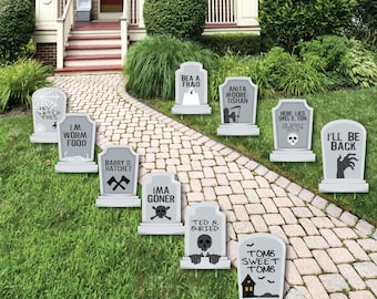 Funny Tombstones   Graveyard Tombstone Shaped Lawn Decorations   Outdoor  Yard Decorations   Halloween   Lawn