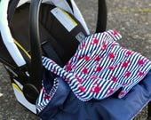 Nautical Minky Baby Blanket, Outdoor Waterproof Car Seat Blanket