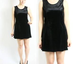 Vintage 80's 90's Black Velvet Mini Dress Sleeveless - Small to Medium