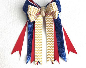 Horse Show Hair Bows/Blue Sparkle Glitter/Gold glitter chevron