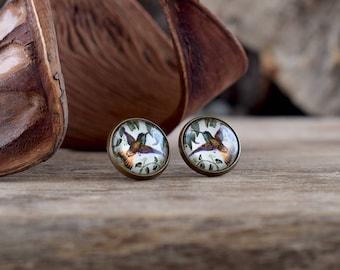 Hummingbird earrings, Bird earrings, Hummingbird jewelry, Hummingbird studs, Hummingbird gift, Bird stud earrings, Tiny hummingbirds WJ 004