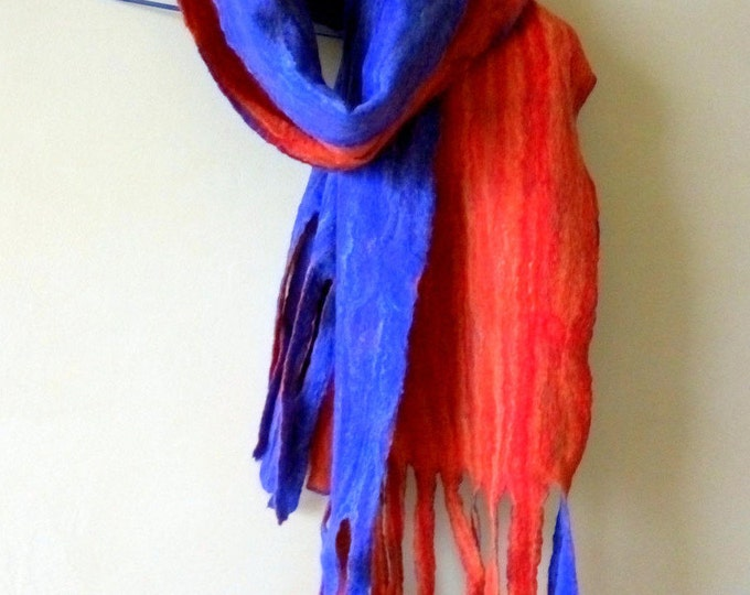 Men's scarf felted warm scarf Wool scarf Gifts for artists Bohemian scarf Unisex scarf Blue red Gift for designer Gift for best friend