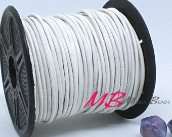 2mm Spool of White Indian Leather, 5 Yard Spool of Genuine Leather, 15 feet Round Leather for Jewelry Making
