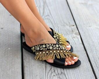 "Women's sandals, Leather sandals, Flat handcrafted sandals, ""Antoinette"""