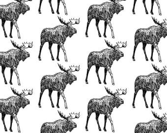 Organic Swaddle Blanket Moose, Black Moose, Woodland Animal, Boy Bedding, Christmas Bedding, Gender Neutral, Modern Blanket, Organic Blanket