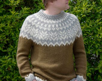 Olive Knit Sweater | Mens Icelandic Lopapeysa | Nordic Design | Wool Jumper | Chunky Knit Sweater | L Size | Mens Clothing | Gift For Him