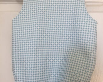 Infant boy romper, baby boy bubble suit, toddler sun suit.  Blue and white check.  Size 3 months.  Infant and children's clothing.