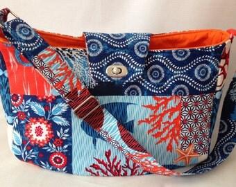 Large Handbag, Shoulder Bag, Purse, Tropical Handbag, Summer Bag in Ocean Themed Fabric with Adjustable Shoulder Strap - Made in Maui