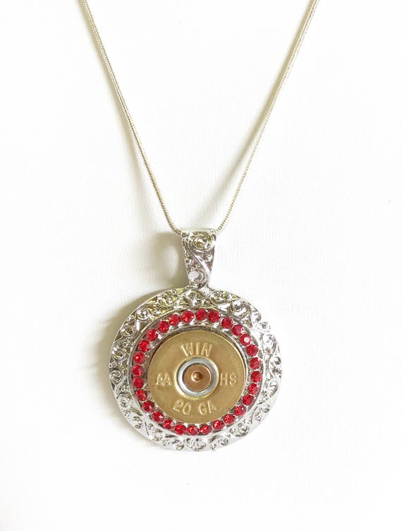 Shotgun Shell Necklace, Red Crystal 20 Gauge Pendant Necklace, Gift For Her, Shooting Sports Jewelry Gift, Southwestern Style Wife Jewelry