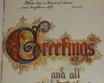 Ornate GREETINGS with Shakespeare Verse Antique TUCK Christmas and New Year Postcard