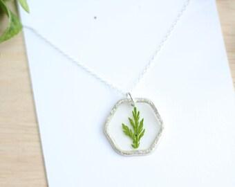 Dark Green Fern Necklace