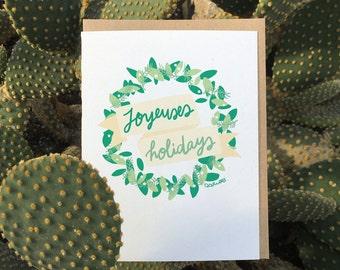 Joyeuses Holidays // Bilingual Holiday Greeting Card / Christmas, New Year, Holidays, Name it! / Perfect for Canadians! :P
