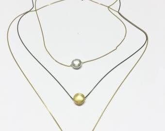Tiny flat Bead Necklace Gold bead Charm Dainty Necklace