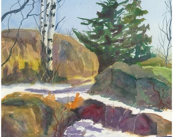Winter on the Shore - Original Watercolor