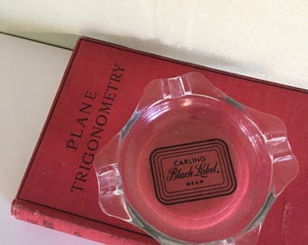 Carling Black Label Beer Clear Glass Ashtray Vintage Breweriana Collectible