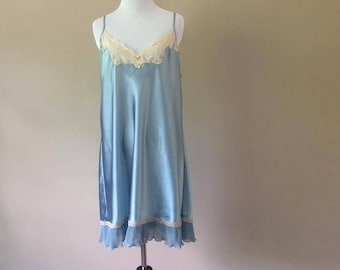L / Satin Chemise Slip Dress Nightie Lingerie / Large / FREE USA Shipping
