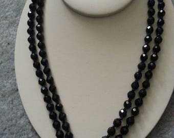 Necklace of jet beads - classic black