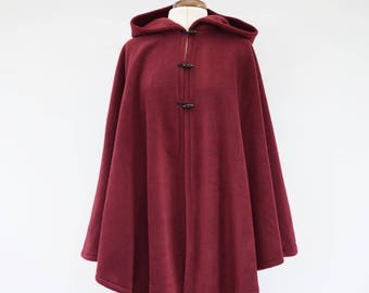 Burgundy Hooded Cloak, Dark Red Hooded Cape, Plus Size Cape Coat, Fleece Cape, Cosplay Cloak, Red Riding Hood Cape