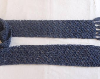Crochet scarf / Navy / wool and cotton / recycled wire
