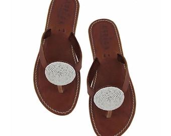 Aspiga Disc White Leather Sandals