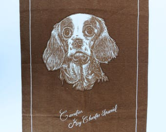 Vintage 70s  pure Irish linen Cavalier King Charles Spaniel dog brown tea towel - souvenir from Surfers Paradise Gold Coast Queensland