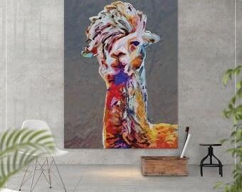 Llama oil painting, Canvas print,  Alpaca painting, Llama Print, Nursery decor, Animal decor, Abstract painting, Abstract art, Christmas-921